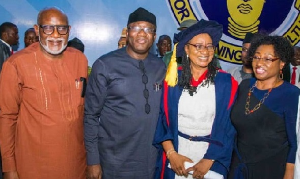 From left: Ondo State Governor, H.E. Chief Oluwarotimi Odunayo Akeredolu, SAN, his Ekiti State counterpart, H.E. Dr John Kayode Fayemi, CON, Chairman NBTE Board, Prof. Modupe Adelabu and the wife of Ekiti State Governor Erelu Bisi Fayemi at the event