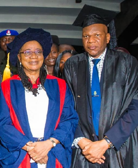 The Chairman NBTE Governing Board, Prof. Modupe Adeola Adelabu (left) and the VC OAU Ile-Ife Professor Eyitope Ogungbenro Ogunbodede at the event.